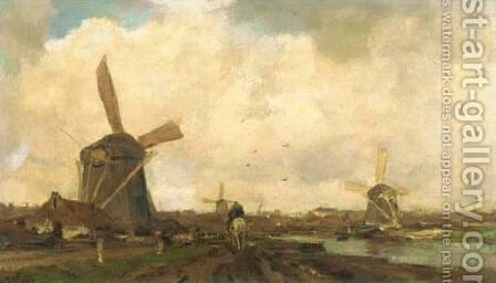 Molens aan de vaart by Jacob Henricus Maris - Reproduction Oil Painting
