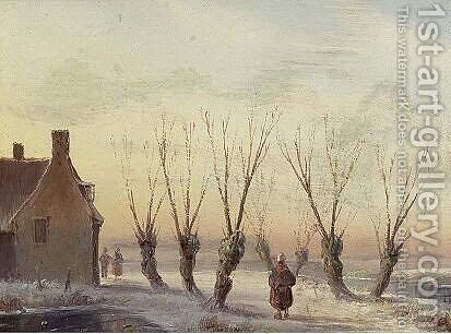 Figures In A Winter Landscape by Carl Eduard Ahrendts - Reproduction Oil Painting