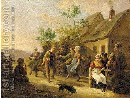 Merriment outside the tavern 2 by Constantin Fidèle Coene - Reproduction Oil Painting