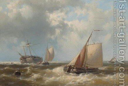 Boats Out At Sea by Abraham Hulk Jun. - Reproduction Oil Painting