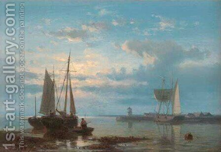 Fishing Boats in a Calm by Abraham Hulk Jun. - Reproduction Oil Painting