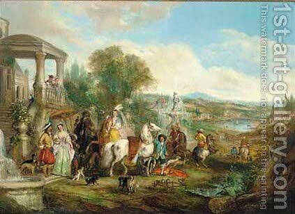 An elegant hunting party before a villa, an extensive landscape beyond by Henry Andrews - Reproduction Oil Painting