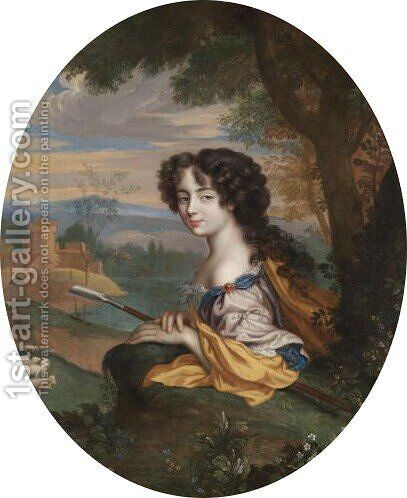Portrait Of Jane 'jenny' Myddelton, Mrs May (1661-1740) As A Shepherdess by Henri Gascars - Reproduction Oil Painting