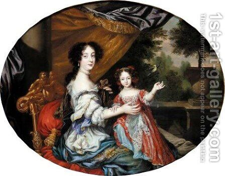 Portrait Of Barbara Villiers, Countess Of Castlemaine (1640-1709), And Her Daughter, Lady Charlotte Fitzroy, Countess Of Lichfield (1664-1718) by Henri Gascars - Reproduction Oil Painting