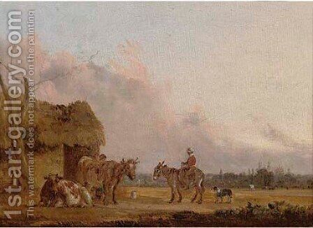A shepherd and his flock on the fields of Windsor by Edmund Bristow - Reproduction Oil Painting