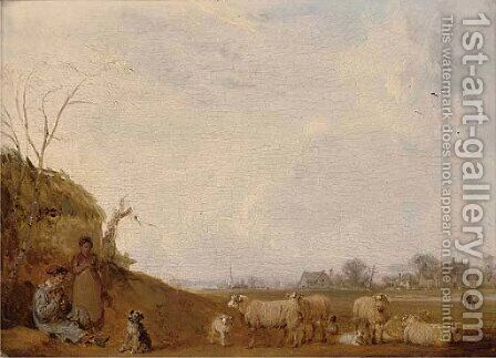 Bristow's farm, with Eton college chapel in the distance by Edmund Bristow - Reproduction Oil Painting