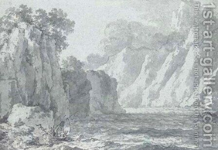 Cascade between cliffs by Claude Louis Chatelet - Reproduction Oil Painting