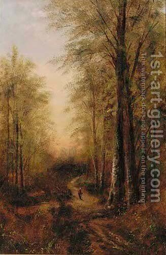 Returning home along a wooded path by J. Cooke - Reproduction Oil Painting