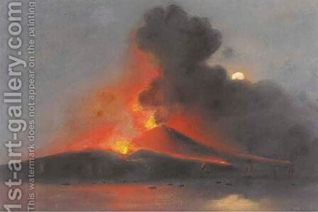 Vesuvius erupting by night by Carlo Coppola - Reproduction Oil Painting