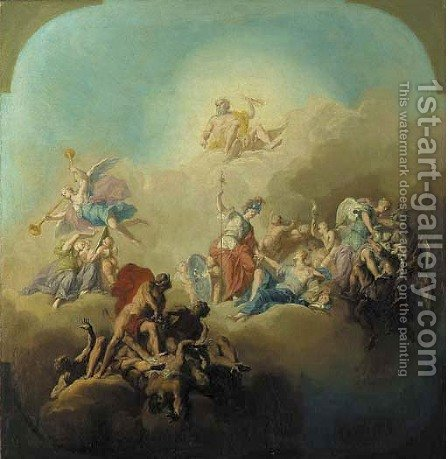 Allegories of the Arts modelli for ceiling decorations by Domenico Corvi - Reproduction Oil Painting