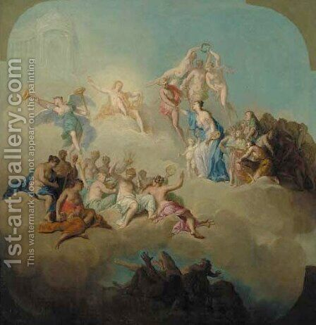 Allegories of the Arts modelli for ceiling decoration 2 by Domenico Corvi - Reproduction Oil Painting