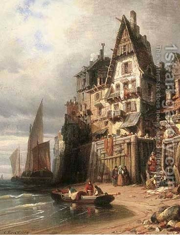 A harbour in the calm by Charles Euphraisie Kuwasseg - Reproduction Oil Painting