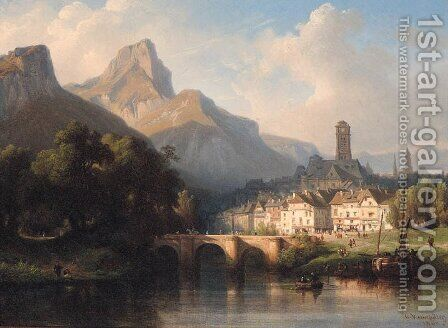 A Town on a River in a mountainous Landscape by Charles Euphraisie Kuwasseg - Reproduction Oil Painting