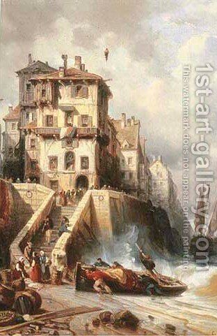 A harbour in rough seas by Charles Euphraisie Kuwasseg - Reproduction Oil Painting