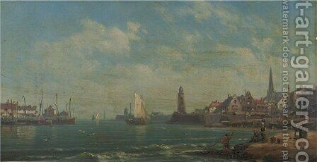 View Of Harbour With Fisherboats by Charles Euphraisie Kuwasseg - Reproduction Oil Painting