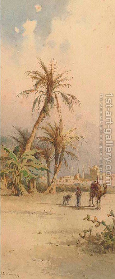 An Arab and camel before a mosque by Angelos Giallina - Reproduction Oil Painting