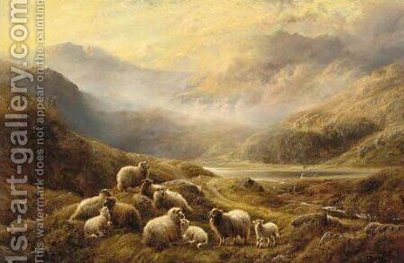 Sheep resting in a loch landscape by Charles Watson - Reproduction Oil Painting
