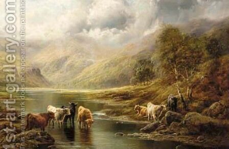 Highland cattle in a loch landscape by Charles Watson - Reproduction Oil Painting