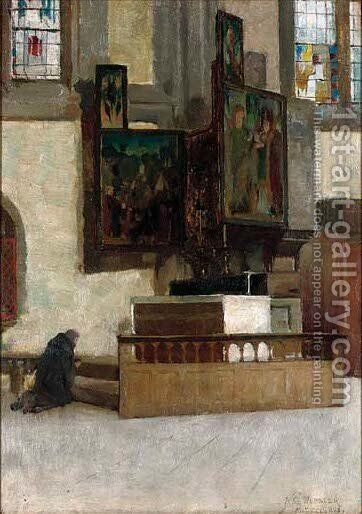 A monk praying by Alfred George Webster - Reproduction Oil Painting