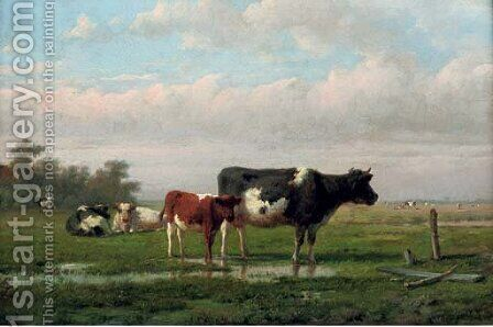Cattle in a pasture by Anthonie Jacobus van Wyngaerdt - Reproduction Oil Painting