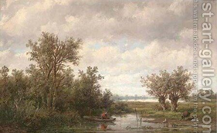 Fishing on a calm stretch of water by Anthonie Jacobus van Wyngaerdt - Reproduction Oil Painting
