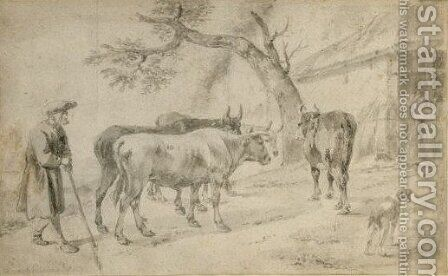 An Elderly Famer Herding Four Cows, His Dog To The Right by Hendrick Verschuring - Reproduction Oil Painting