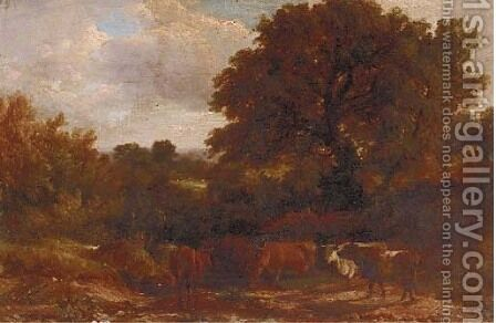 Cattle on a riverside road by Alfred Vickers - Reproduction Oil Painting