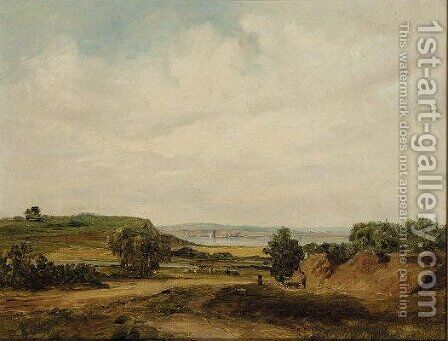 Landscape, Possible Showing The Solent In The Distance And A View Of The Isle Of Wight by Alfred Vickers - Reproduction Oil Painting