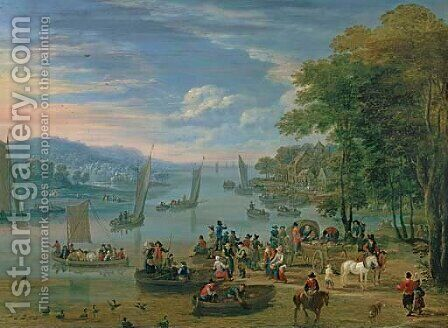 A coastal scene with travelers and drovers, a harbor in the distance by Mathys Schoevaerdts - Reproduction Oil Painting