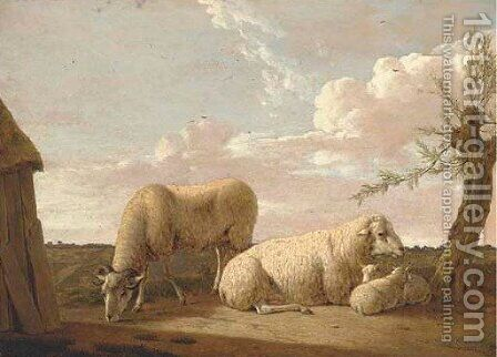 A family of sheep by a tree by Hendrik Willem Schweickardt - Reproduction Oil Painting