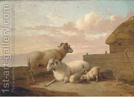 A family of sheep by a sheepfold by Hendrik Willem Schweickardt - Reproduction Oil Painting