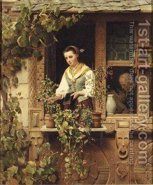 Tending The Windowbox[bei Der Blumenpflege] by August Friedrich Siegert - Reproduction Oil Painting