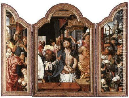 A triptych Ecce Homo, the Crucifixion beyond in the right wingouter faces Saint Jerome with a male donorSaint Catherine of Alexandria by Dirck Jacobsz. Vellert - Reproduction Oil Painting