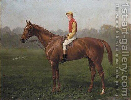 Nickel, A Bay Racehorse With Jockey Up by Heinrich Sperling - Reproduction Oil Painting