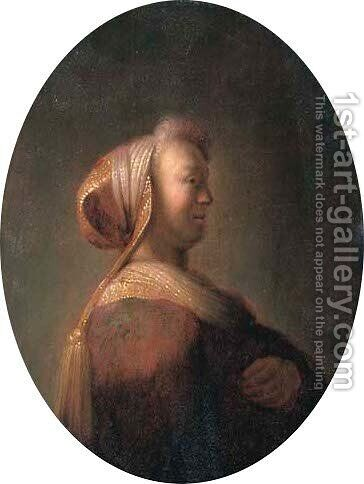 Portrait of a lady in oriental costume by Jan Adriansz van Staveren - Reproduction Oil Painting