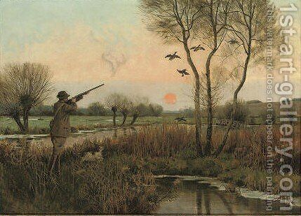 Duck shooting 2 by Christopher William Strange - Reproduction Oil Painting