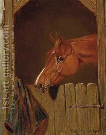 A chestnut at a stable door by Colin Graeme Roe - Reproduction Oil Painting