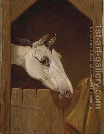 A grey at a stable door by Colin Graeme Roe - Reproduction Oil Painting