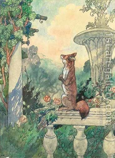 Illustrations for Aesop's Fables The fox and the bunch of grapes by Charles Robinson - Reproduction Oil Painting