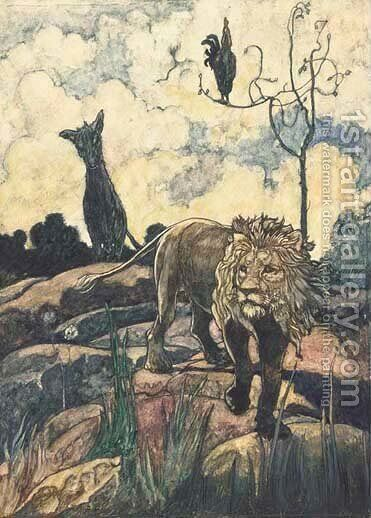 An illustration for Aesop's Fable's The lion and the wild ass by Charles Robinson - Reproduction Oil Painting