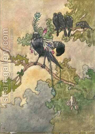 Illustration for Aesop's Fables The jackdaw and the birds by Charles Robinson - Reproduction Oil Painting
