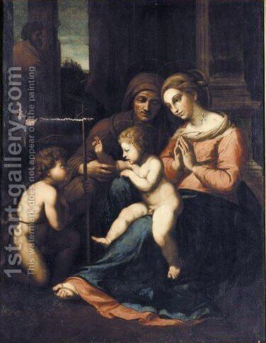 Madonna And Child With Saint Anne, Joseph And Saint John The Baptist by (after) Raphael (Raffaello Sanzio of Urbino) - Reproduction Oil Painting