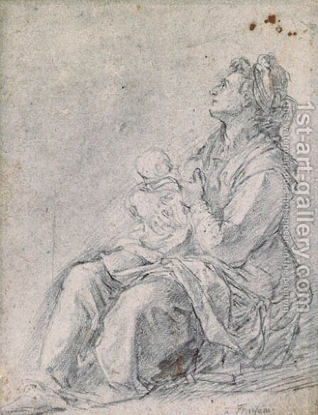 A Seated Woman holding a Baby by Bernardino Barbatelli Poccetti - Reproduction Oil Painting