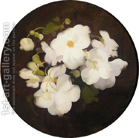 White Begonias by James Stuart Park - Reproduction Oil Painting