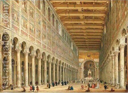 Interior of church Rome by Giovanni Paolo Panini - Reproduction Oil Painting