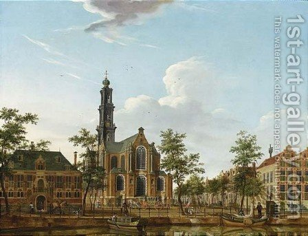 A View Of The Westerkerk Seen From Across The Keizersgracht, Amsterdam by Isaak Ouwater - Reproduction Oil Painting