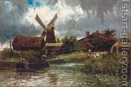 A quiet day before the windmill by James Orrock - Reproduction Oil Painting