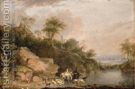 A rocky river landscape with herdsmen watering their cattle and sheep by Balthasar Paul Ommeganck - Reproduction Oil Painting