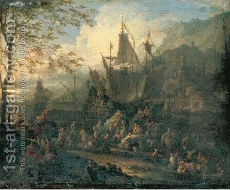A capriccio of a Mediterranean port scene with a four-master, a town and mountains beyond by Jan Baptist van der Meiren - Reproduction Oil Painting