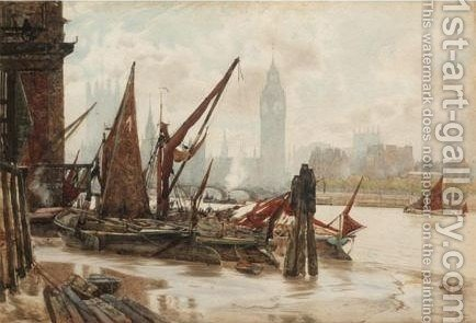 Boats Docking With Westminster Beyond by Herbert Menzies Marshall - Reproduction Oil Painting